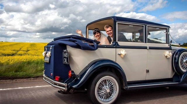 Harriet hood down wedding car classic