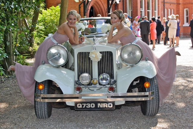 Select Limos 1930 classic style wedding car at Dower House hotel wood hall spa