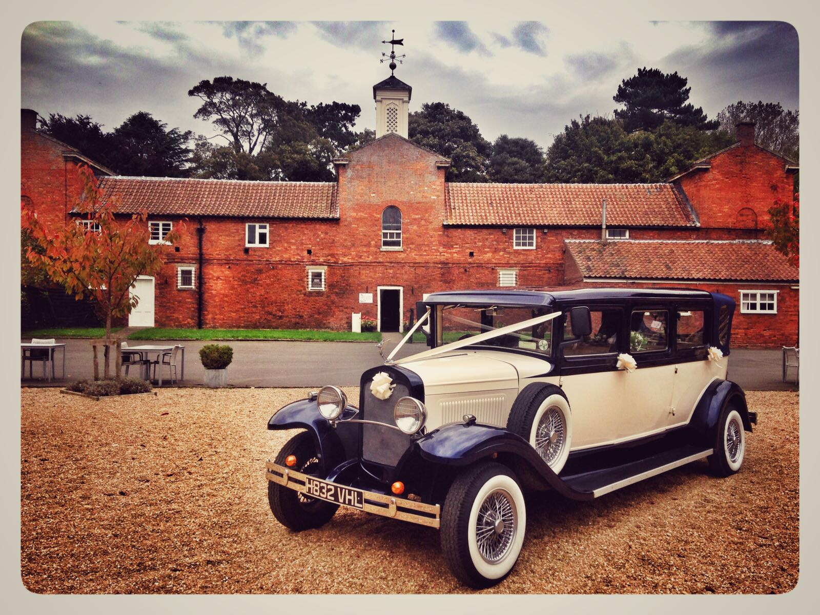 Select limos Harvey 1930 bramwith Wedding Car at Elsham Hall