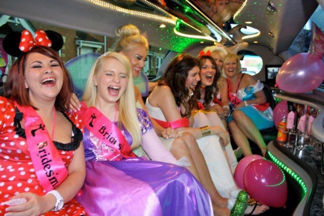 hen night, wedding car,  prom night white limousine