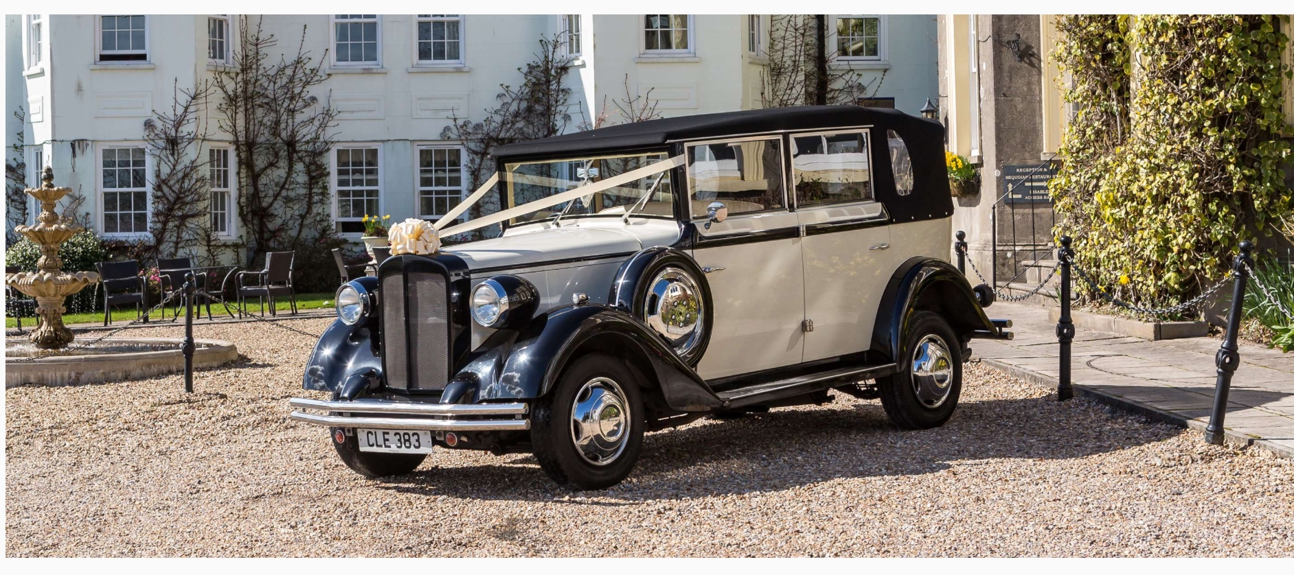 Select Limos Ivory & Black 1920's style wedding car called Henrietta