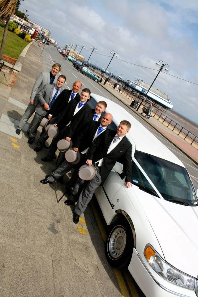 White stretched limousines