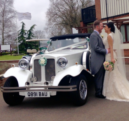 Select Limos Bella our white Beauford 1930's classic style wedding car